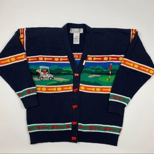 Vtg 90s Retro Golf Cable Knit Cardigan Sweater